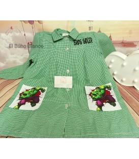 Baby escolar verde cuadritos